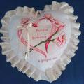 """cuscino cuore beige """" CUORE e CALLE"""" rosa"""