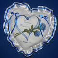 """cuscino cuore """" CUORE + ROSE """" blu"""