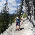 Meike im Kaisergams-Klettersteig