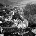 Vue aérienne du village d'Arette après le séisme du 13 août 1967 - © Mairie d'Arette