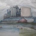 O.T. (Arbeitstitel: Nebellandschaft mit Kühen), 2006, Acryl auf Leinwand, 105 x 145 cm