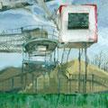 O.T. (Arbeitstitel: Krieg der Welten), 2006, Acryl auf Leinwand,  110 x  90 cm
