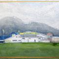 O.T. (Arbeitstitel: EDEKA), 2006/2009 (Überarbeitet), Acryl auf Leinwand, ca 100 x 135 cm