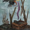Petit vol. Acrylique sur toile. 22/35 cm. 2015