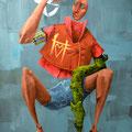 Autoportrait. Acrylique sur toile. 22/35 cm.