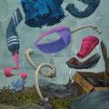 Petit os. Acrylique sur toile. 24/35 cm. 2015