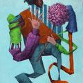 Le tuteur est un homme. Acrylique sur toile. 22/35 cm. 2015