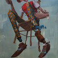 Petite chaise. Acrylique sur toile. 22/33 cm.