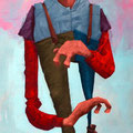 Le masque fait le personnage. Acrylique sur toile. 19/33 cm. 2015