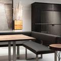 Esszimmer mit Tisch, Leder-Bank und Schrank Varus