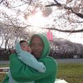 KEM&長男 2,009年 相模川でお花見
