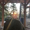Belle Roche  - Lever de soleil dans l'axe de l'entrée de l'abri- 21 08 2019