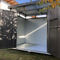 Biohort: Metallgerätehaus HighLine, Größe H2 (275 x 195 x 222 cm)  auf Erdschraub - Fundament