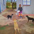 ©  Im Hof der Medizinfrau in Bergville KwaZuu Natal    Öl    80x100cm     2.200€