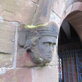 Head stop on the porch depicting the Bishop of Worcester