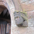 Head stop on the porch depicting Queen Victoria
