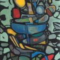 """DämonIII"", 2012, 40 x 120 cm, Öl auf Leinwand"