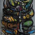 """""""Dämon II"""", 2012, 40 x 120 cm, Öl auf Leinwand"""