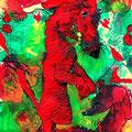 Männchen machen (2009) Acryl/ Tusche auf Papier