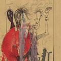 Man(n) bittet zum Tanze (2009) Acryl/ Tusche auf Briefumschlag