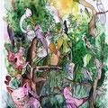 Lügentatze-Rosa-Katze (2009) Aquarell/Tusche auf Papier 18x24