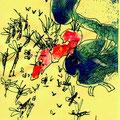 Insektenfang (2008) Acryl/ Tusche auf farbigem Papier