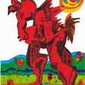 Rotes Pferd (2000) Faserstift auf Papier 21,0 x 29,7