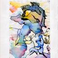 Elf mit Affe (1999) Aquarell/ Finliner auf Papier