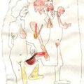 Maskenmann mit Schere (2002) Aquarell/ Bleistift auf Papier