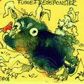 Füßefressmonster (2008) Acryl/ Tusche/ Tipp-Ex auf farbigem Papier