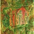 Adam und Eva (1997) Aquarell/ Monotypie auf Papier