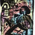 Nachts in der Stadt (2001) Kratztechnik auf Papier 14,8 x 21,0