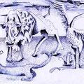 Treffen der Tiere (2005) Kugelschreiber auf Papier