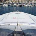 Proa del la embarcación de alquiler en a30nudos.es
