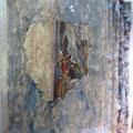 """""""Capa sobre capa"""" T. mixtas sobre cartón.  Montada en metacrilato 70 x 79 x 20 cm. 2012."""