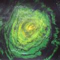 """Una de las obras de """"Evolución verde"""" (Composición de ocho). T. mixtas sobre papel. 2012."""