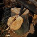 矢全体が丸太に埋まってしまい叩けなくなったので上下ひっくり返して、先ほど外した物を打ち込む。