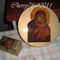 Icona di Madonna su mdf, oro acrilico