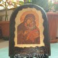 Icona di Madonna su legno tinto noce scuro, foglia oro, oro rilievo e screpolante