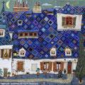 ブルーの屋根と三日月 F4
