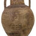 The discovered pieces of ceramic pottery look like this sample of an amphora dated of the Late Geometric period.
