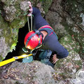 Andreas Korikis decending into the Tripa tou Pelaou cave.