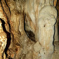 Stalactites and stalagmites in the main room of the cave.