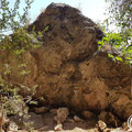 Some animal bones were found below this wall.