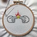 """""""Sparks"""" Broderie fil coton sur tissu coton"""