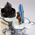 """""""Chasing waves"""" Détail1 personnage et nuage papier, aquarelle, acrylique et encre de chine..."""