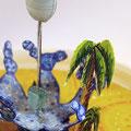 """""""Naissance d'une oasis"""" Détail2 oasis et palmiers papier, fil de fer, perles, aquarelle et encre de chine..."""