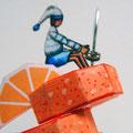 """""""Pressé le matin"""" Détail1 orange origami 3D papier, fil de fer, acrylique, aquarelle et encre de chine..."""