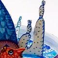"""""""Grand plongeon"""" Détail2 poisson papier, aquarelle, acrylique et encre de chine"""