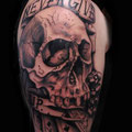 Tattoo Skull black and grey © Farb Fleck Tattoo OG Tattoostudio Linz
